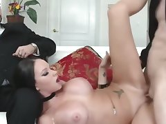 Milf, Big Ass, Big Tits, Brunette, Cuckold, Deepthroat, HD, Tattoo