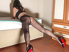 Amateur Sex, Milf, Webcam, brunette, lingerie, solo-female, stockings