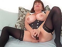 Amateur, Milf, big-ass, big-tits, brunette, hd, solo-female, stockings, toys
