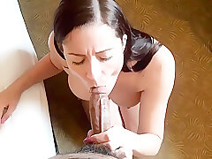 Amateur, Big Cock, Milf, POV, cock, big-tits, brunette, casting, hd, interracial, stockings