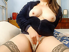 Amateur, Milf, Big Ass, Big Tits, Brunette, HD, Hairy, Solo Female, Stockings