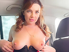 Amateur, Big Cock, Milf, POV, cock, big-tits, brunette, car, hd