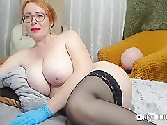 Amateur, Milf, Webcam, big-ass, big-tits, european, red-head, solo-female, stockings, toys