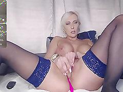 Amateur, Blondes, Milf, Webcam, Big Tits, European, Lingerie, Solo Female, Stockings, Toys