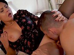 Anal, Big Cock, Milf, Handjob, Cock, Brunette, Lingerie, Stockings