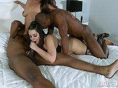 Big Cock, Milf, Group Sex, Cock, Sex, Big Tits, Brunette, HD, Interracial, Stockings