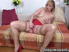Blondes, Milf, Big Tits, European, Solo Female, Stockings, Striptease, Toys