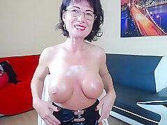 Amateur, Milf, Webcam, Big Tits, Brunette, Solo Female, Stockings, Toys