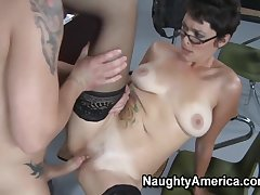 Milf, american, big-tits, brunette, cunnilingus, stockings, tattoo, teacher