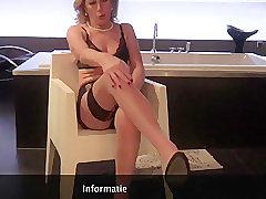 Mature, Masturbation, Milf, Small Tits, European, Fingering, Lingerie, Solo Female, Stockings, Toys