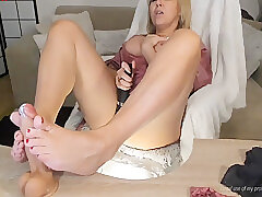 Amateur, Blonde, Fetish, Milf, Webcam, big-tits, foot-fetish, footjob, solo-female, toys