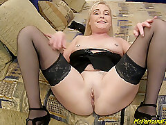 Hardcore, Blonde, Blowjob, Milf, POV, close-up, creampie, doggystyle, female-orgasm, upskirt