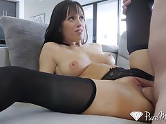 Big Cock, Milf, POV, Cock, Brunette, Deepthroat, HD, High Heels, Lingerie, Shaved, Stockings