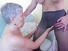 Mature, Milf, Big Tits, Couple, Fingering, Granny, Lesbian, Lingerie, Toys