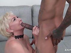 Blonde, Milf, big-ass, big-tits, deepthroat, hd, interracial, old-and-young, stockings, tattoo