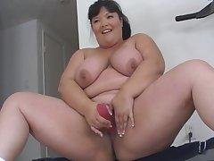 Asian, Milf, bbw, big-tits, brunette, hd, solo-female, toys