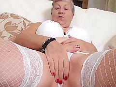 Mature, Blowjob, Milf, big-tits, couple, fingering, granny, lingerie, stockings