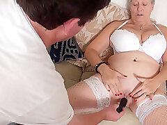 Mature, Blowjob, Milf, Big Tits, Couple, Fingering, Granny, Lingerie, Stockings