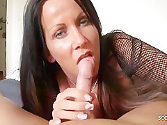 Katie Pears Nigh German Maw Teased Blowjob With the addition of Handjob Be advisable for Stepson, Pov