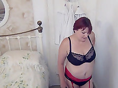 Mature, Milf, BBW, Big Tits, Couple, Fingering, Granny, Lesbian, Lingerie, Stockings