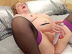 Mature, Masturbation, Milf, BBW, Big Tits, Fingering, Lingerie, Solo Female, Stockings, Toys