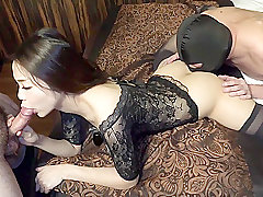 Asian, Threesome, Handjob, Dildo, Brunette, Deepthroat, HD, Japanese