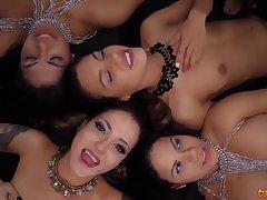Milf, POV, Group Sex, Handjob, Sex, Big Tits, Brunette, HD, Spanish, Tattoo