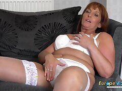 Milf, Big Tits, HD, Red Head, Solo Female, Stockings, Striptease