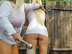 Mature, Milf, BBW, Big Tits, Couple, European, Lesbian, Lingerie, Outdoor