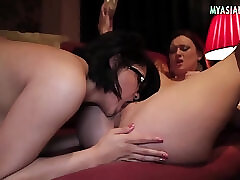 Asian, Threesome, Big Boobs, Group Sex, Fuck, Sex, Big Ass, Big Tits, Fingering, High Heels, Lesbian, Lingerie